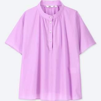 Uniqlo WOMEN Soft Cotton High Neck S/S Blouse