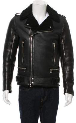 Balmain Shearling-Lined Leather Moto Jacket