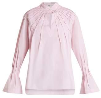 Teija - Pintucked Bell Cuff Cotton Blouse - Womens - Light Pink