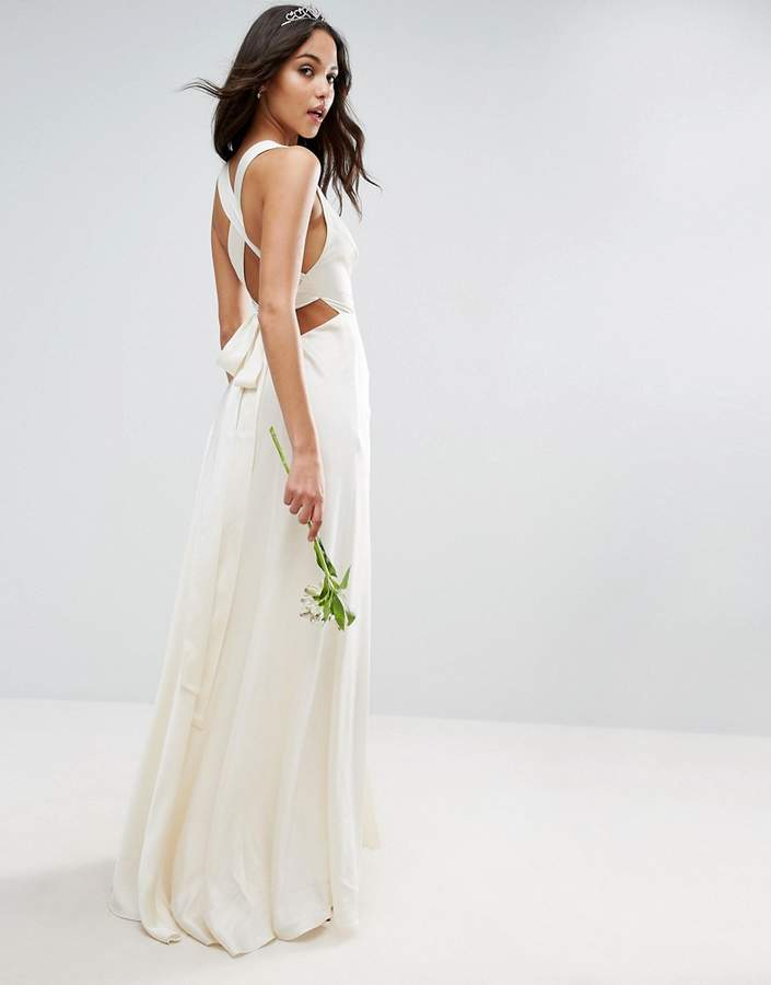 AsosASOS BRIDAL Deep Plunge Strap Back Fishtail Maxi Dress