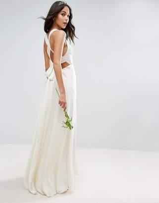 Asos Design BRIDAL Deep Plunge Strap Back Fishtail Maxi Dress