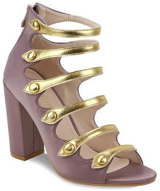 OLIVIA MILLER Northfolk Metallic Strap Chunky Heel Sandals Women's Shoes