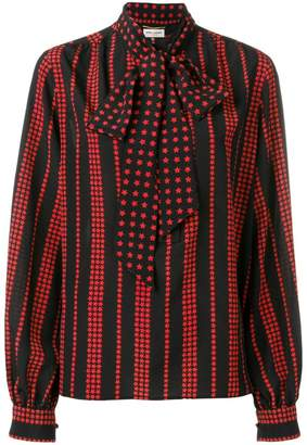Saint Laurent stars and stripes printed blouse