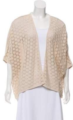 Lafayette 148 Crochet-Trimmed Open Front Cardigan
