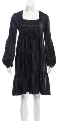 Derercuny Silk Long-Sleeve Dress