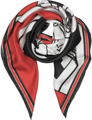 Givenchy Bambi Print Red Silk Square Scarf