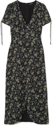 Madewell Wrap-effect Floral-print Georgette Maxi Dress - Black