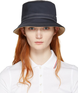 Thom Browne Navy Bucket Hat $250 thestylecure.com
