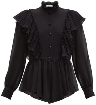 fdc36c747a05be See by Chloe Ruffled Collar Georgette Blouse - Womens - Black