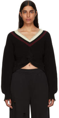 Alexander Wang Black Twist Front V-Neck Sweater