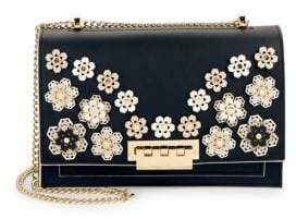 Zac Posen Earthette Leather Embellished Crossbody Bag