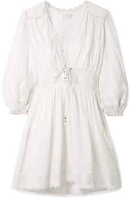 Zimmermann Iris Lace-trimmed Swiss-dot Cotton Dress