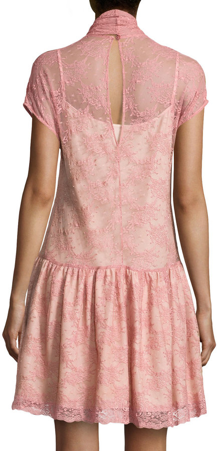 RED Valentino Tie-Neck Lace Dress, Petal