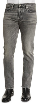 TOM FORD Straight-Fit Faded Wash Denim Jeans, Gray $680 thestylecure.com