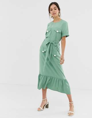 Asos Design DESIGN pep hem midi dress with pockets