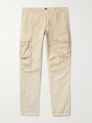 Incotex Slim-Fit Cotton and Linen-Blend Cargo Trousers - Men - Neutrals