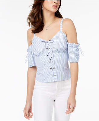 GUESS Kate Cold-Shoulder Lace-Up Top