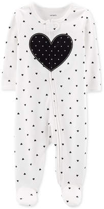 Carter's Carter Baby & Girls 1-Pc. Heart Cotton Footed Pajamas