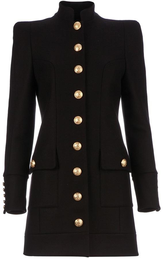 Balmain structured military coat