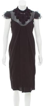 Valentino Rosette Midi Dress w/ Tags Black Rosette Midi Dress w/ Tags