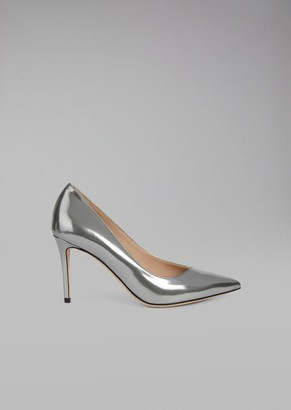 Giorgio Armani Metallic Wet-Look Leather Stiletto Heel Pump