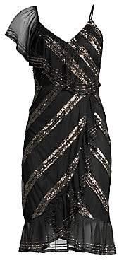 Aidan Mattox Women's Asymmetric Sequin Stripe Sheath - Size 0
