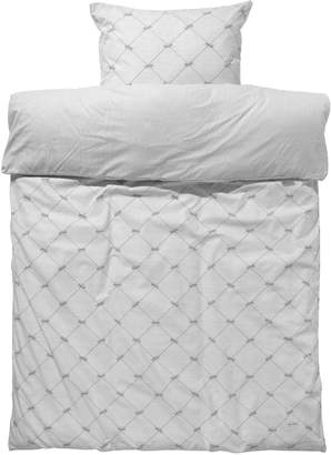 Nicolientje 100% Cotton Bed Duvet Cover with Matching Pillow Case (Silver 140 X 200cm)