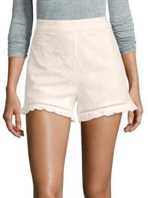 J.o.a. Floral Eyelet Cotton Shorts