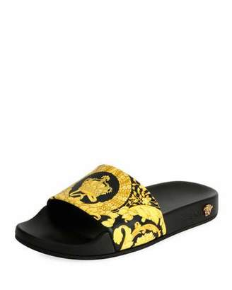 Versace Flat Logo Terry Pool Slide Sandal