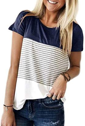 392bbf61ec9133 Miskely Women's Summer Short Sleeve Striped Blouse Junior Casual Tunic Tops  T-Shirt (,