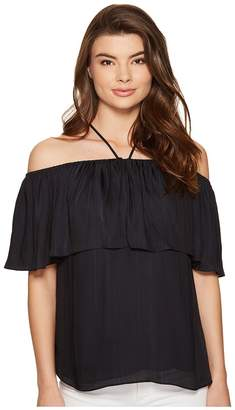 1 STATE 1.STATE Halter Neckline Ruffle Top Blouse Women's Blouse