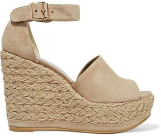Stuart Weitzman - Sohogal Suede Espadrille Wedge Sandals - Beige $455 thestylecure.com