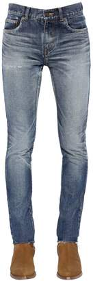 Saint Laurent 15cm Skinny Low Rise Washed Denim Jeans