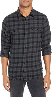 Frame Slim Fit Fray Hem Western Yoke Long Sleeve Sport Shirt