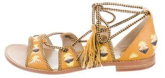 House Of Harlow Embroidered Lace-Up Sandals