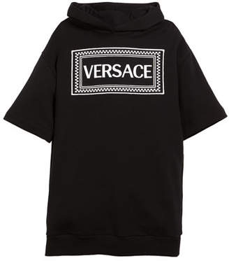 Versace Hooded Sweatshirt Logo Dress, Size 4-6