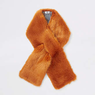 River Island Orange faux fur shawl scarf