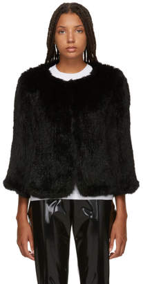 Yves Salomon Black Knitted Rabbit Jacket