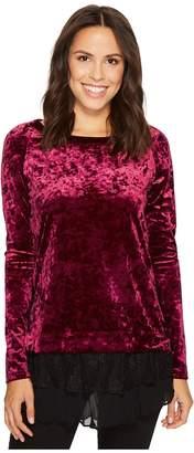 Karen Kane Velvet Lace Inset Top Women's Clothing
