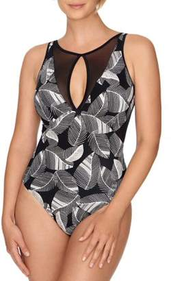 Time and Tru Women's Print Mesh One Piece Swimsuit