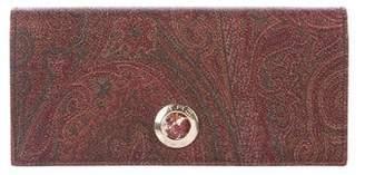 Etro Paisley Leather Tri-fold Wallet