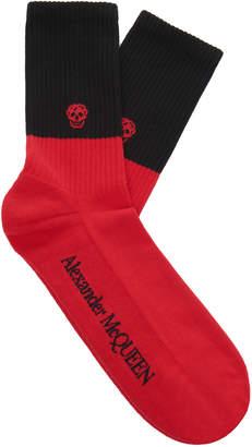 Alexander McQueen Ribbed Cotton-Blend Socks