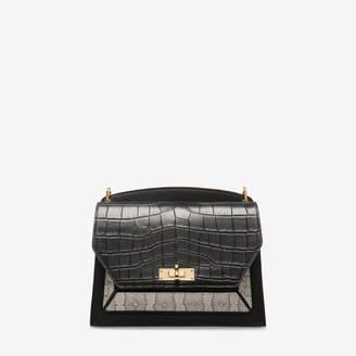 Bally Suzy Medium Black, Women's grained goat leather shoulder bag in black