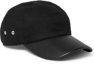 Alyx Stretch-Wool Twill and Leather Baseball Cap - Men - Black