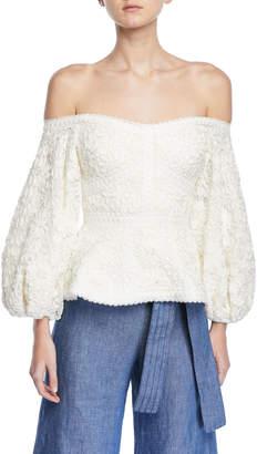 Alexis Joscelin Embroidered Puff-Sleeve Top