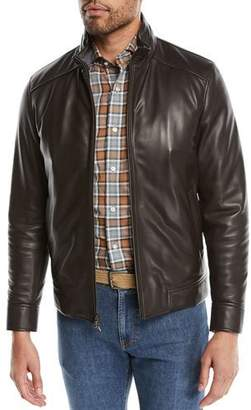 Peter Millar Men's Classic Leather Bomber Jacket