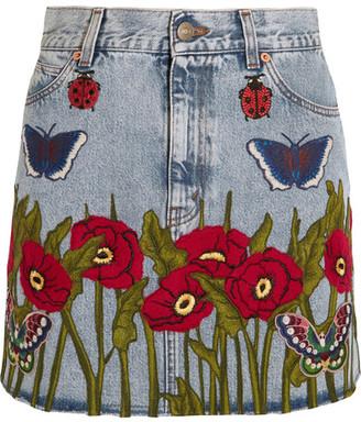 Gucci - Appliquéd Denim Mini Skirt - Light denim $1,890 thestylecure.com