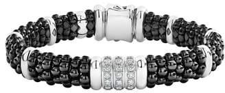 Lagos Black Caviar Diamond 3-Link Bracelet