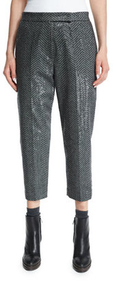 Brunello Cucinelli Paillette Chevron Cropped Pants, Onyx $2,775 thestylecure.com
