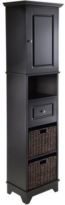 Winsome Wood Wyatt Cabinet with 2 Choco Baskets, Black Finish